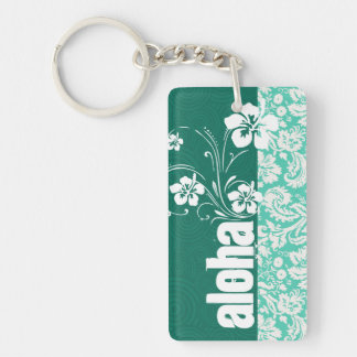 Aloha; Seafoam Green Damask Double-Sided Rectangular Acrylic Keychain