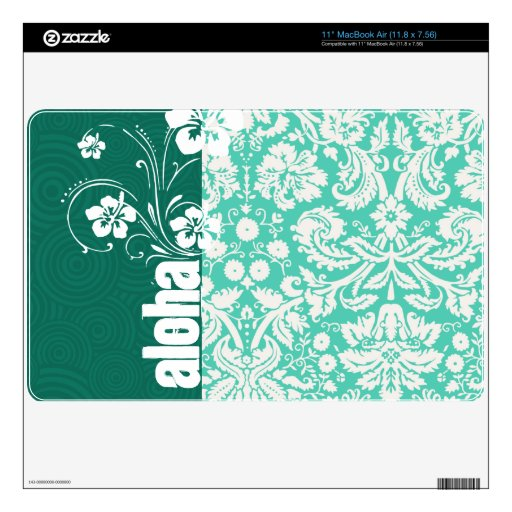 Aloha; Seafoam Green Damask MacBook Air Skins
