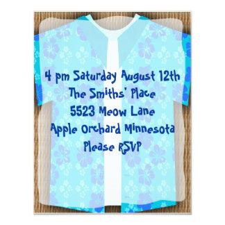 Aloha Shirt Luau Tiki Party 4.25x5.5 Paper Invitation Card