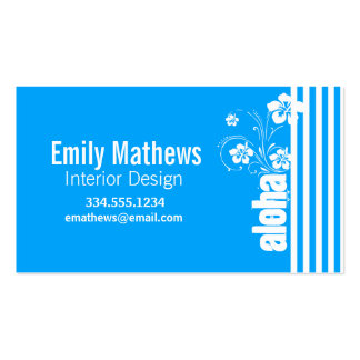 Aloha; Sky Blue Vertical Stripes; Striped Double-Sided Standard Business Cards (Pack Of 100)