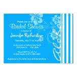 """Aloha; Sky Blue Vertical Stripes; Striped 5"""" X 7"""" Invitation Card"""