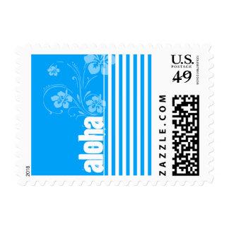 Aloha; Sky Blue Vertical Stripes; Striped Postage