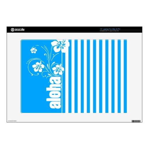 "Aloha; Sky Blue Vertical Stripes; Striped 15"" Laptop Skins"