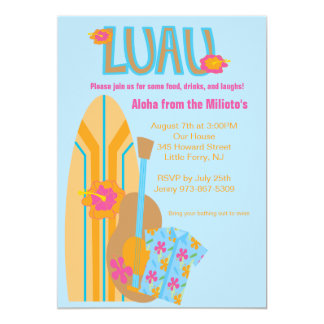 Aloha Surf Board Hawaiian Party Invitation