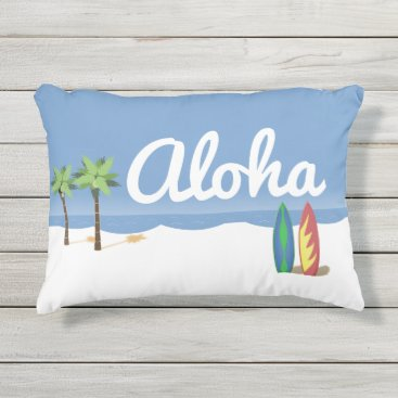 Beach Themed Aloha Surf Outdoor Pillow
