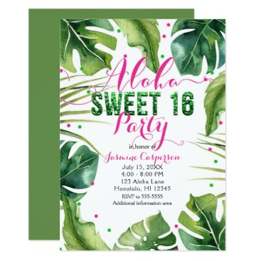 Beach Themed ALOHA SWEET 16 Sixteen Tropical Leaves Pink Green Card