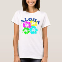 Aloha T-Shirt Colorful Hawaiian Flowers