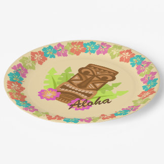 Aloha Tiki and Tropical Flowers Luau Paper Plate