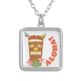 Aloha Tiki Mask Square Pendant Necklace