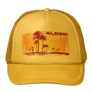 ALOHA Tropiacl Beach With Palm Trees Trucker Hat