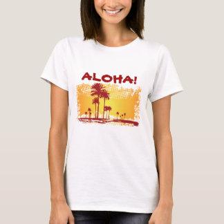 ALOHA Tropiacl Beach With Palm Trees T-Shirt