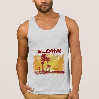 ALOHA Tropiacl Beach With Palm Trees Tank Top