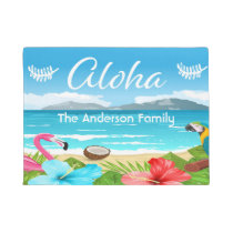 Aloha tropical beach with flamingo and flowers doormat
