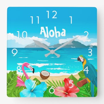 Beach Themed Aloha tropical beach with flamingo and flowers square wall clock