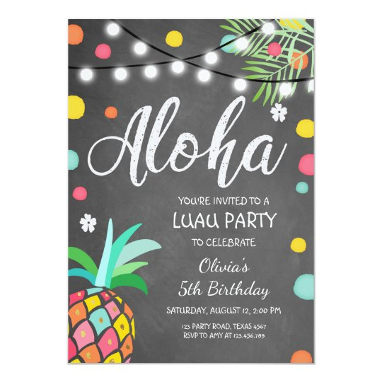 aloha tropical birthday party invite hawaii luau zazzle com
