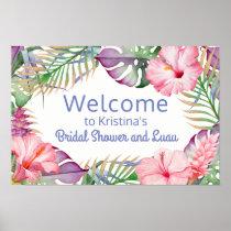 Aloha Tropical Floral Luau Welcome Sign