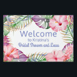 "Aloha Tropical Floral Luau Welcome Yard Sign<br><div class=""desc"">Colorful tropical florals in aloha style accent this luau and pool party welcome sign. Vibrant watercolor hues of pink, purple, and green comprise the color palette. All of the text on this sign may be edited (on both sides), so you can change the party title as well as the other...</div>"
