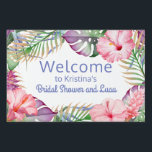 """Aloha Tropical Floral Luau Welcome Yard Sign<br><div class=""""desc"""">Colorful tropical florals in aloha style accent this luau and pool party welcome sign. Vibrant watercolor hues of pink, purple, and green comprise the color palette. All of the text on this sign may be edited (on both sides), so you can change the party title as well as the other...</div>"""