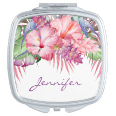 Aloha Tropical Floral With Monogram Compact Mirror at Zazzle