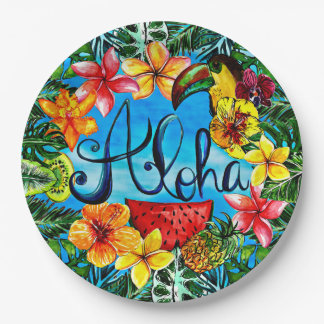 Aloha - Tropical Flower Food and Summer Design Paper Plate