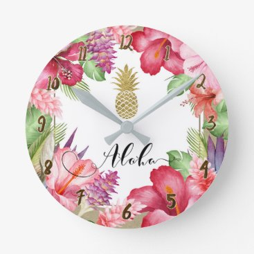 Beach Themed Aloha Tropical Flowers Floral Chic Gold Pineapple Round Clock