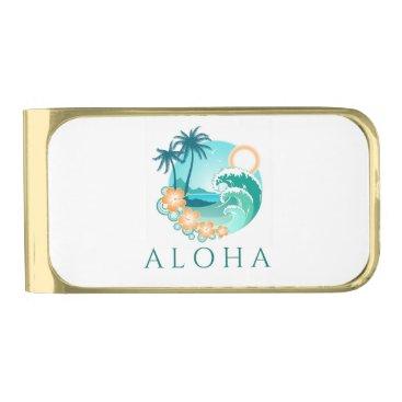 Beach Themed Aloha Tropical Gold Finish Money Clip