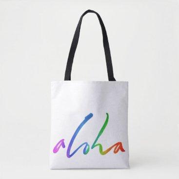 Beach Themed Aloha - Tropical Hand Lettering - Hawaii Hawai'i Tote Bag