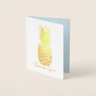 Aloha Tropical Hawaiian Gold Pineapple Thank you Foil Card