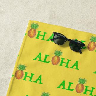ALOHA Tropical Hawaiian Island Pineapple Fruit Beach Towel