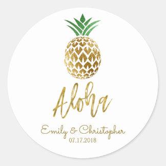 Aloha Tropical Hawaiian Pineapple Wedding White Classic Round Sticker