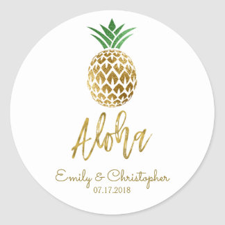 Aloha Tropical Hawaiian Pineapple Wedding White Classic Round Sticker