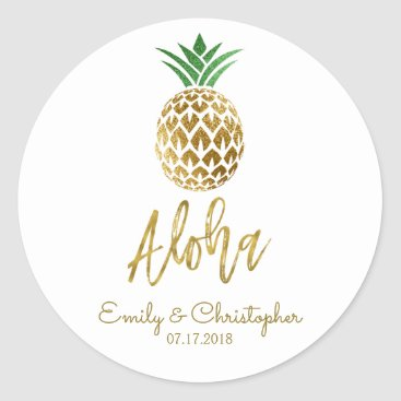 Hot_Foil_Creations Aloha Tropical Hawaiian Pineapple Wedding White Classic Round Sticker