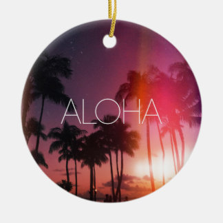 Aloha Tropical Night Ceramic Ornament