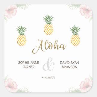 Aloha Tropical Pineapple Beach Wedding Square Sticker