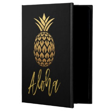 Beach Themed Aloha Tropical Pineapple Black and Gold Foil Case For iPad Air