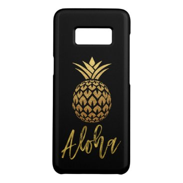 Beach Themed Aloha Tropical Pineapple Black and Gold Foil Case-Mate Samsung Galaxy S8 Case