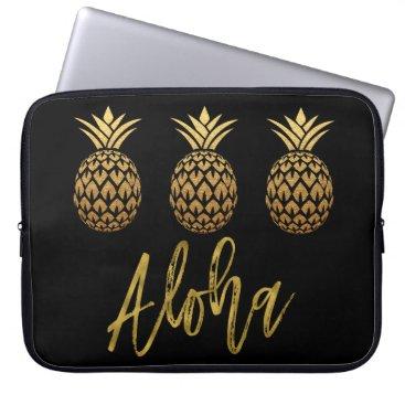 Beach Themed Aloha Tropical Pineapple Black and Gold Foil Computer Sleeve