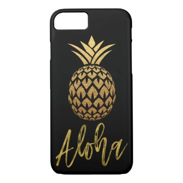 Beach Themed Aloha Tropical Pineapple Black and Gold Foil iPhone 7 Case