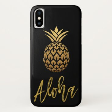 Beach Themed Aloha Tropical Pineapple Black and Gold Foil iPhone X Case