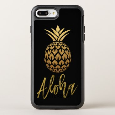 Beach Themed Aloha Tropical Pineapple Black and Gold Foil OtterBox Symmetry iPhone 7 Plus Case