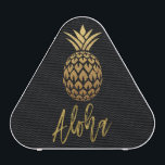"""Aloha Tropical Pineapple Black Gold Foil Speaker<br><div class=""""desc"""">Aloha Tropical Pineapple Black Gold Foil Bluetooth Speaker for listening to your favorite music at the pool or at the Beach.</div>"""