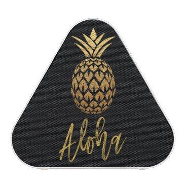 Beach Themed Aloha Tropical Pineapple Black Gold Foil Speaker
