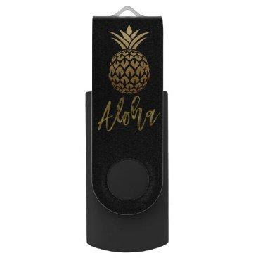 Beach Themed Aloha Tropical Pineapple Black Gold Foil USB Drive