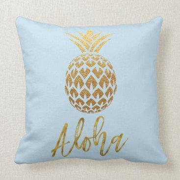 Beach Themed Aloha Tropical Pineapple Blue and Gold Foil Pillow