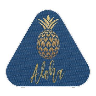 Beach Themed Aloha Tropical Pineapple Blue Gold Foil Speaker