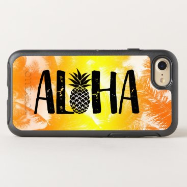 Beach Themed Aloha Tropical Pineapple Golden Beach Palm Trees OtterBox Symmetry iPhone 7 Case