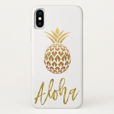 Beach Themed Aloha Tropical Pineapple White and Gold Foil iPhone X Case