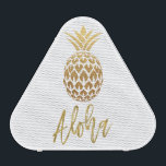 """Aloha Tropical Pineapple White Gold Foil Speaker<br><div class=""""desc"""">Aloha Tropical Pineapple White Gold Foil Bluetooth Speaker for listening to your favorite music at the pool or at the Beach.</div>"""