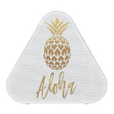 Aloha Tropical Pineapple White Gold Foil Speaker at Zazzle