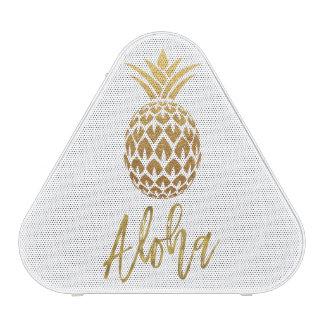 Aloha Tropical Pineapple White Gold Foil Speaker